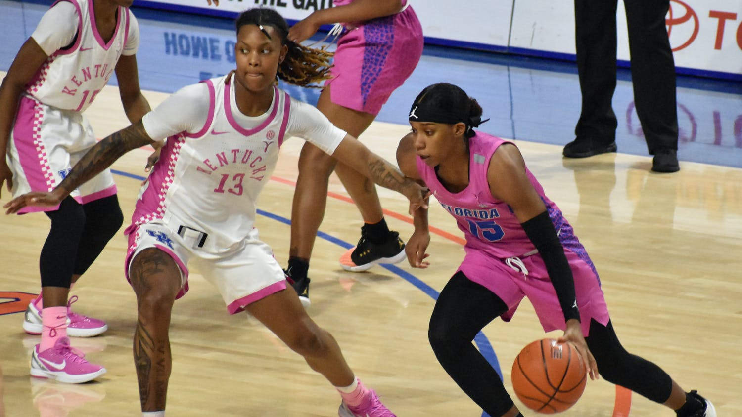 Guards Nina Rickards and Danielle Rainey picked up the slack from Briggs' absence, hitting career highs with 19 and 20 points. Photo from Feb. 15 UF-Kentucky game.
