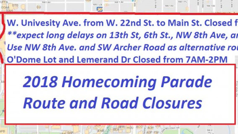 Homecoming parade road closures