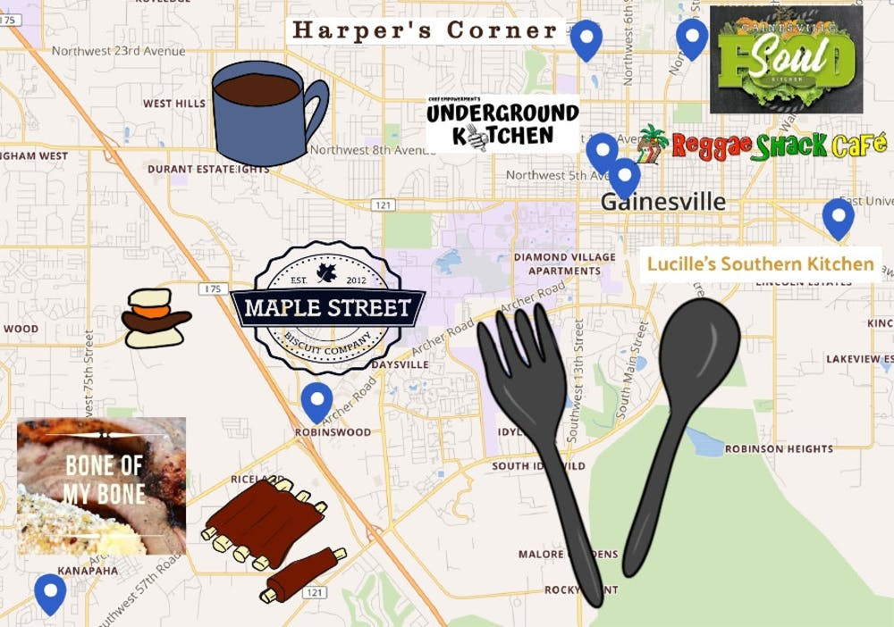 Graphic of Black-owned restaurants in Gainesville
