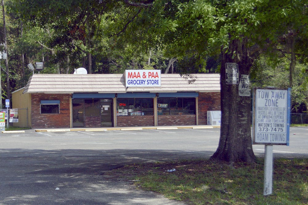 <p>Pictured is the Maa &amp; Paa grocery store, the only source of food located within Linton Oakes. The store supplies basic foods like frozen meat and snacks; the closest grocery store is the Winn-Dixie on Southwest 34th Street.</p>