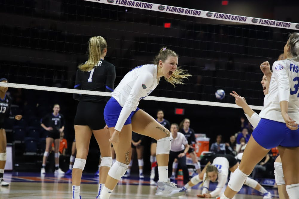 """<p>Outside hitter Thayer Hall celebrates in home match against Kentucky last season. This year, Hall was named<span id=""""docs-internal-guid-186ea90d-7fff-8dd4-261c-1cfd649054bb""""><span>to the All-SEC Preseason Team.</span></span></p>"""