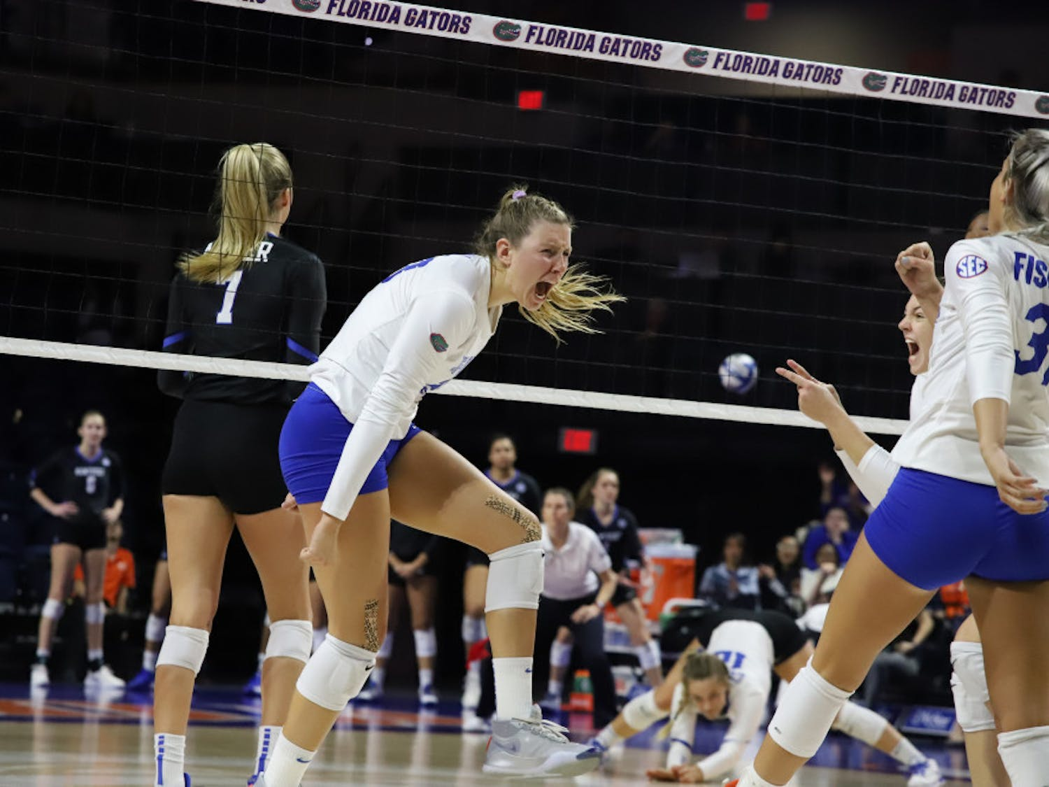 Outside hitter Thayer Hall celebrates in home match against Kentucky last season. This year, Hall was named to the All-SEC Preseason Team.