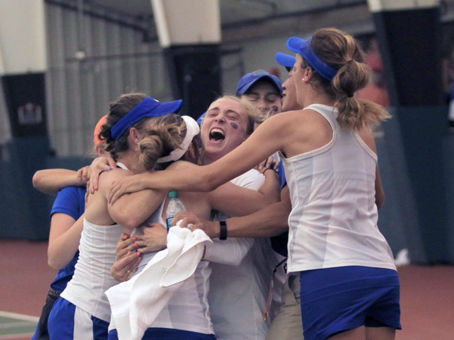 Florida celebrates after its 4-2 win against Vanderbilt in the NCAA semifinals on Monday at the Lindsey Hopkins Indoor Courts in Athens, Georgia.