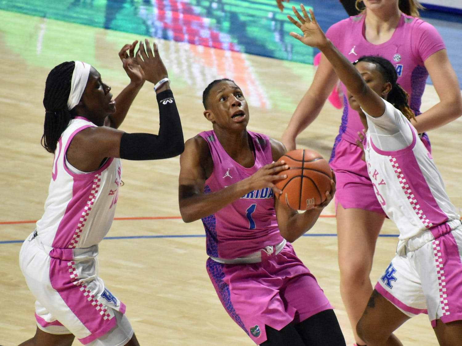 After eclipsing 1,000 career points in Wednesday's win over Auburn, star Florida guard Kiara Smith dropped a career-high 36 points — accounting for 56.2% of the Gators' points. Photo from UF-Kentucky game Feb. 1.