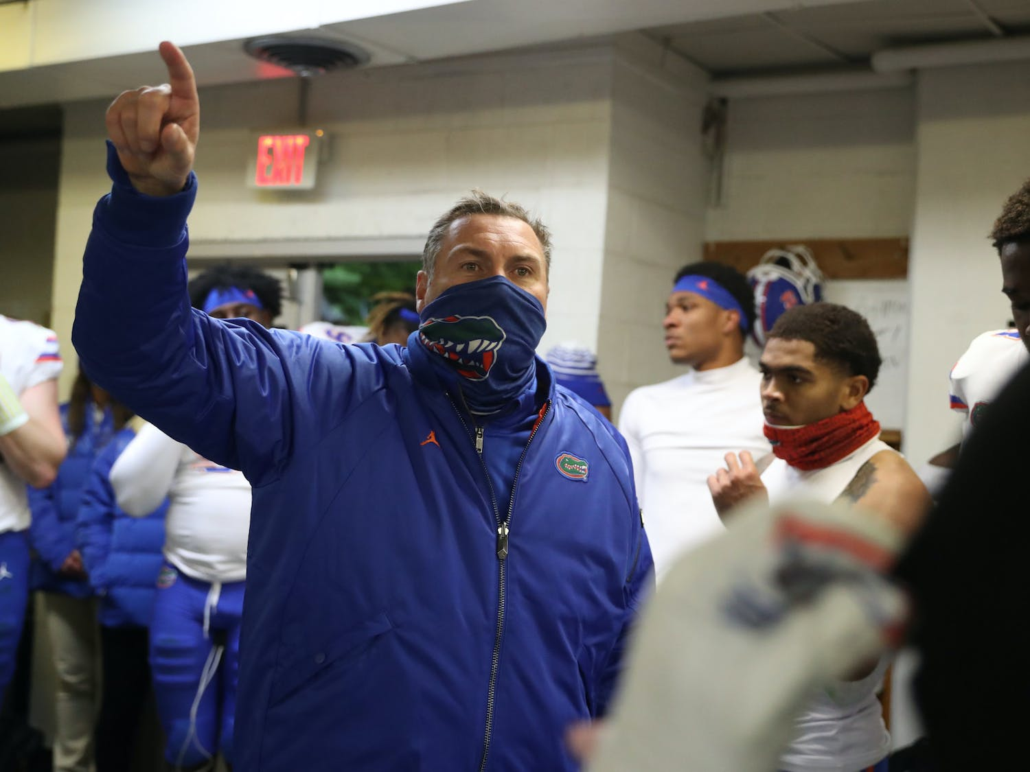 Gators coach Dan Mullen in the visiting locker room after Florida's game against the Tennessee Volunteers on Saturday, Dec. 5, 2020 at Neyland Stadium in Knoxville, Tennessee.