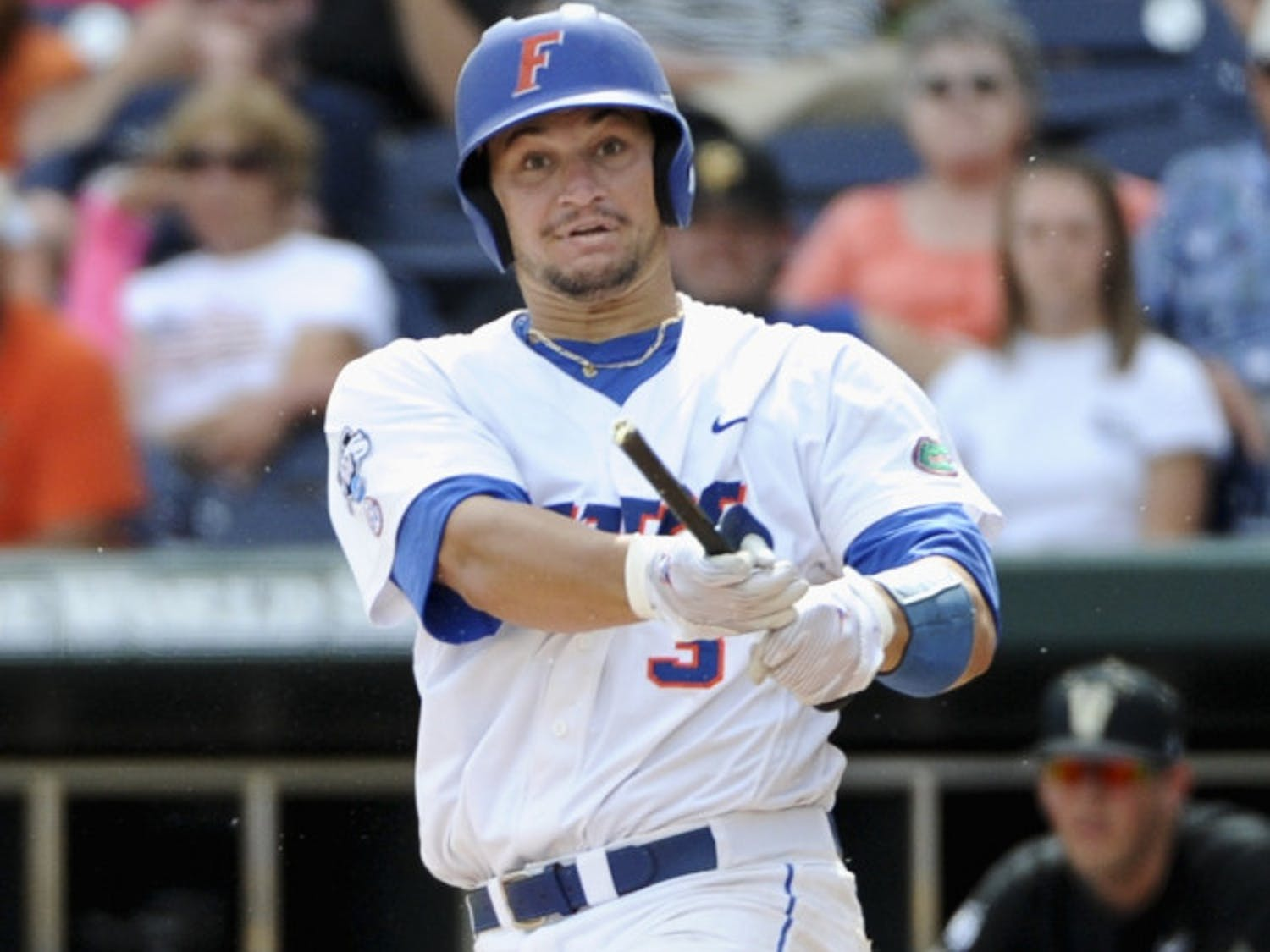 Florida catcher Mike Zunino had his aluminum bat sawed off in the eighth inning of UF's 6-4 win over Vanderbilt on Friday at the College World Series