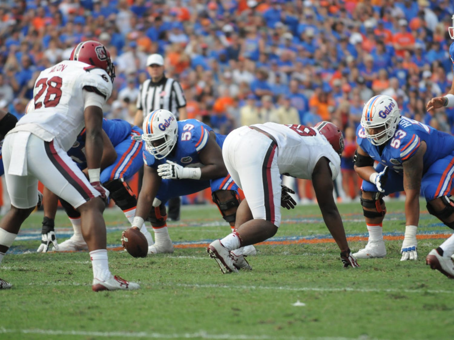 T.J. McCoy (59) prepares to snap the ball during Florida's win against South Carolina on Nov. 12, 2016, at Ben Hill Griffin Stadium.