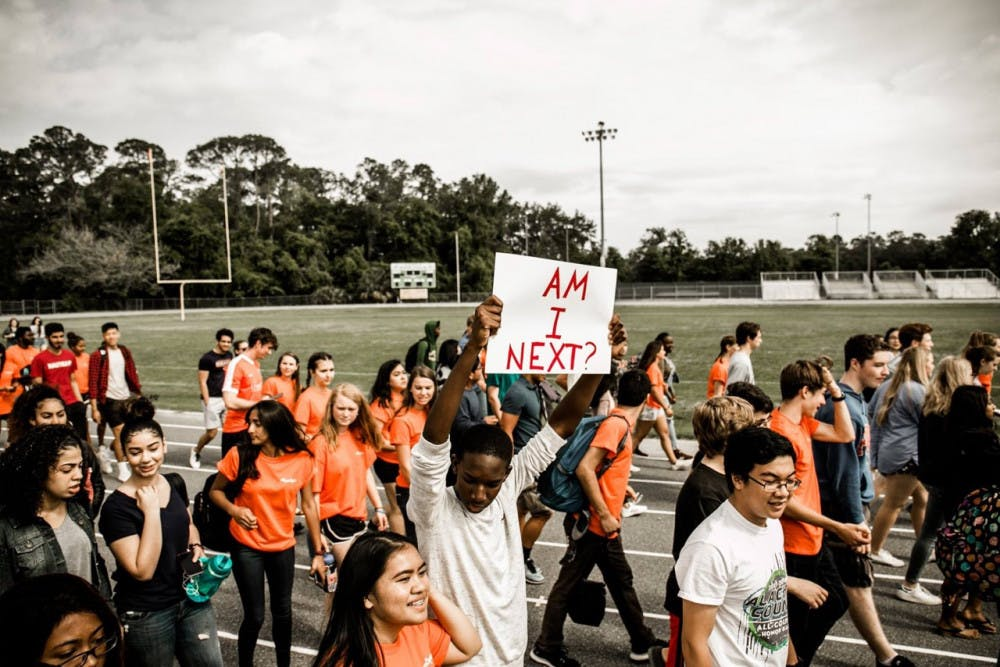 <p>Students at Eastside High School walkout of class in support of gun reform.</p>