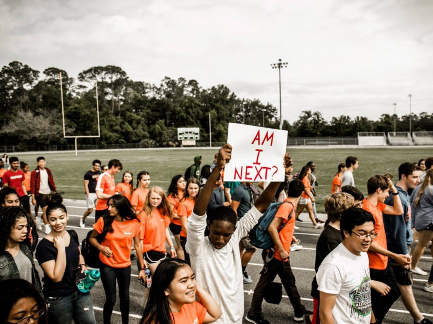 Students at Eastside High School walkout of class in support of gun reform.