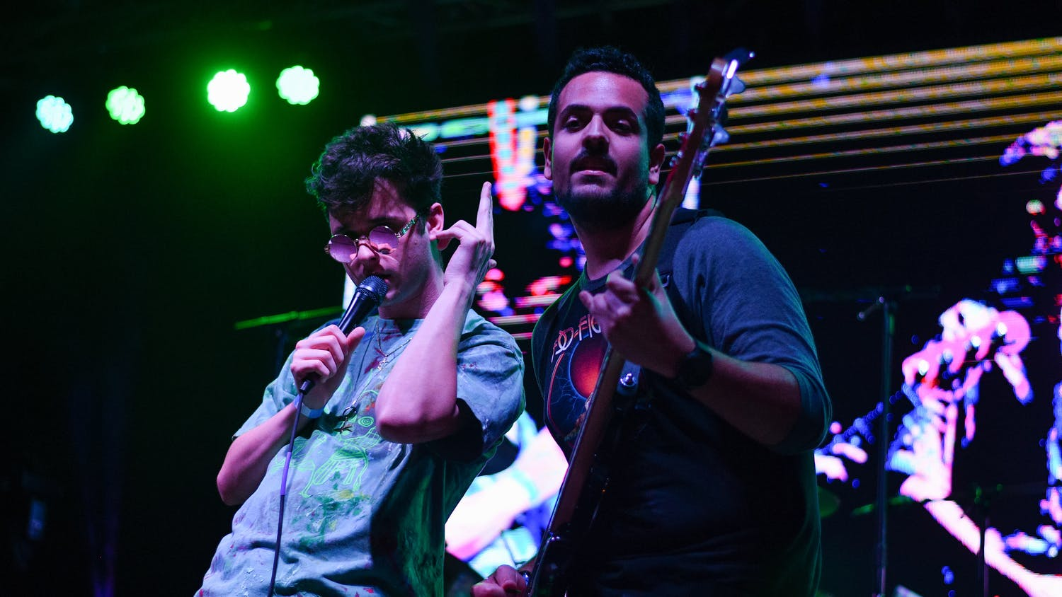 Robbie Kingsley, the band's lead singer, and Andre Escobar, the bassist, perform during the 2019 Heartwood Music Festival on Feb. 23.