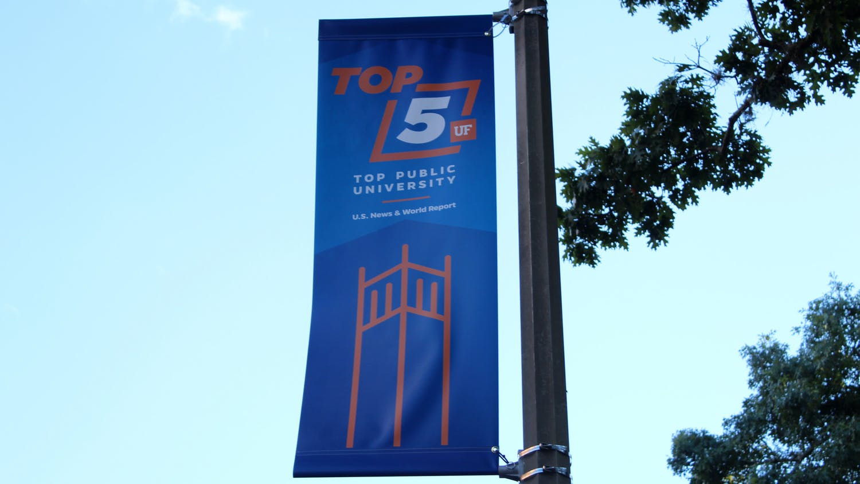 A top 5 banner is seen on Buckman Drive on Thursday, Oct. 14, 2021.
