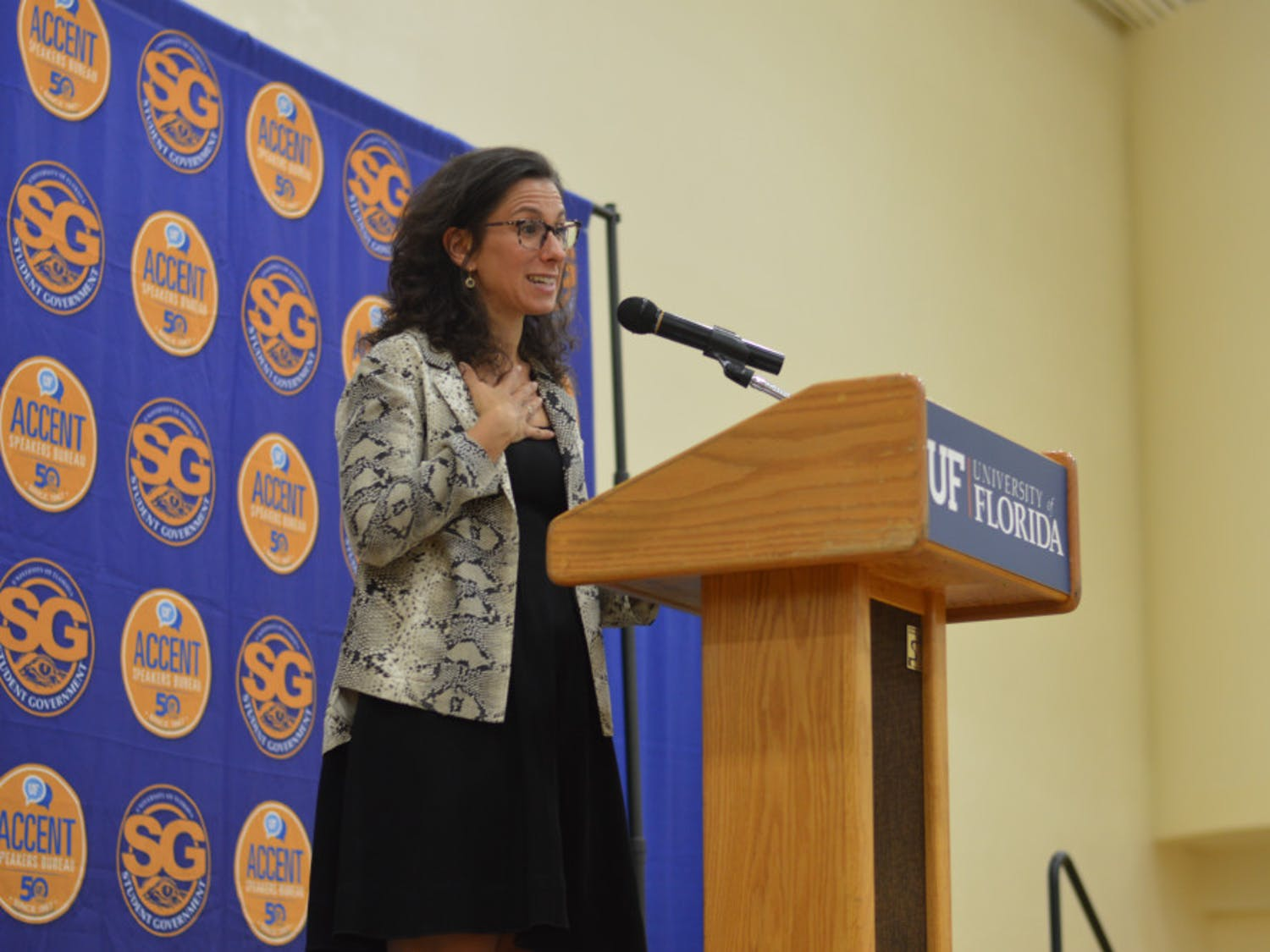 Award-winning journalist and author Jodi Kantor spoke to students Wednesday night in the Florida Gym as part of Accent Speaker Bureau's final event of the semester. The New York Times investigative reporter was recently awarded the Pulitzer Prize for her story uncovering Harvey Weinstein's sexual abuse in the entertainment industry as well as being named one of TIME Magazine's 100 most influential people of 2018.