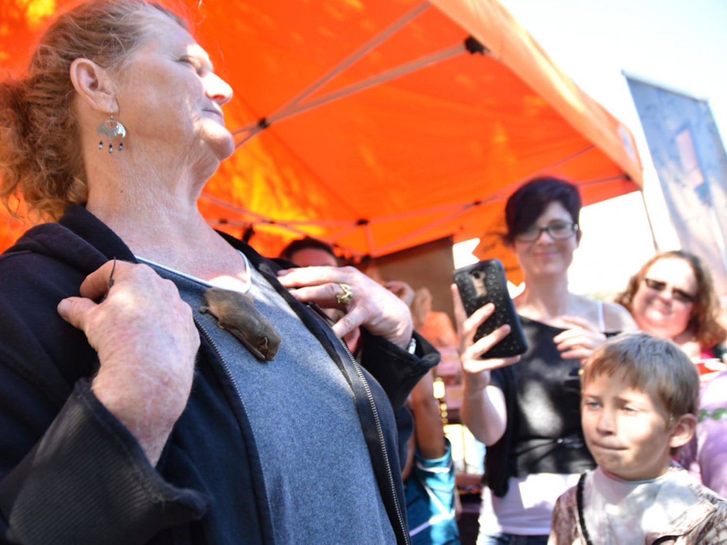 President of the Florida Bat Conservation, Shari Blissett-Clark, holds a bat during the Lubee Bat Conservancy's 12th Annual Florida Bat Festival on Saturday at 1309 NW 192nd Ave.