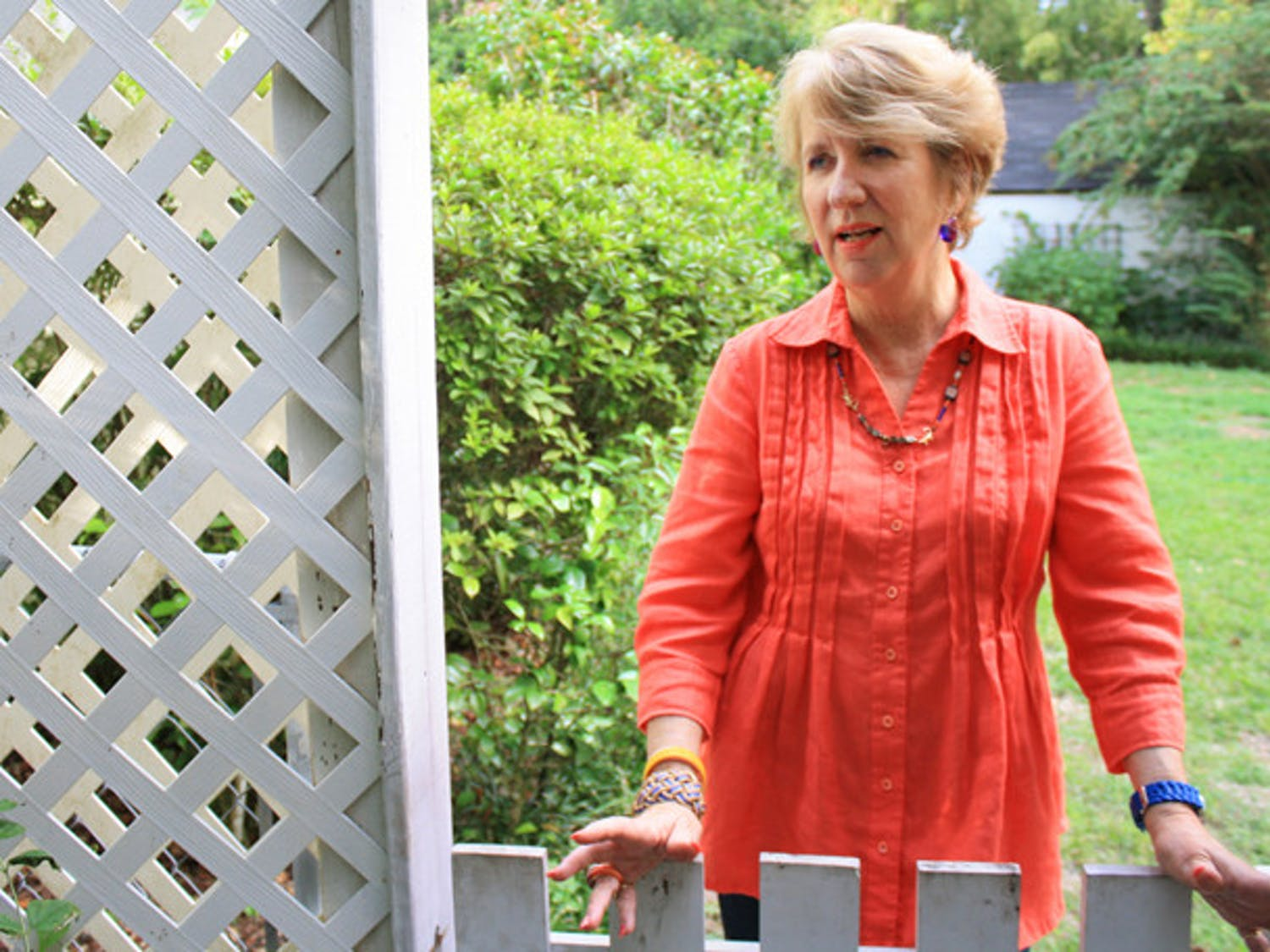 Donna Lutz, 66, stands outside her home Friday. She is running for the Gainesville City Commission at-large 1 seat.