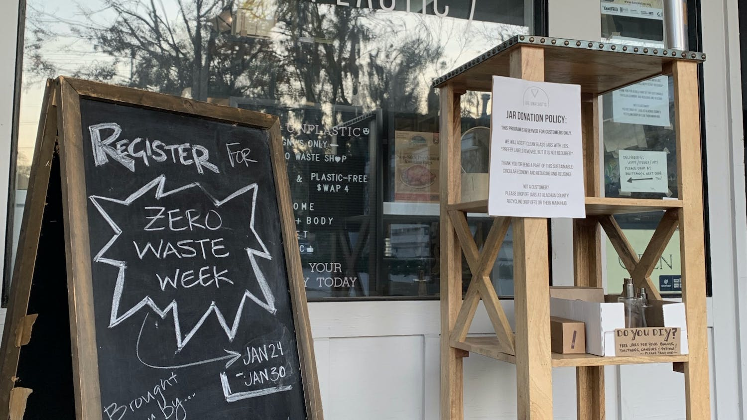 The storefront of Life Unplastic offers information about the second annual Zero Waste Week.