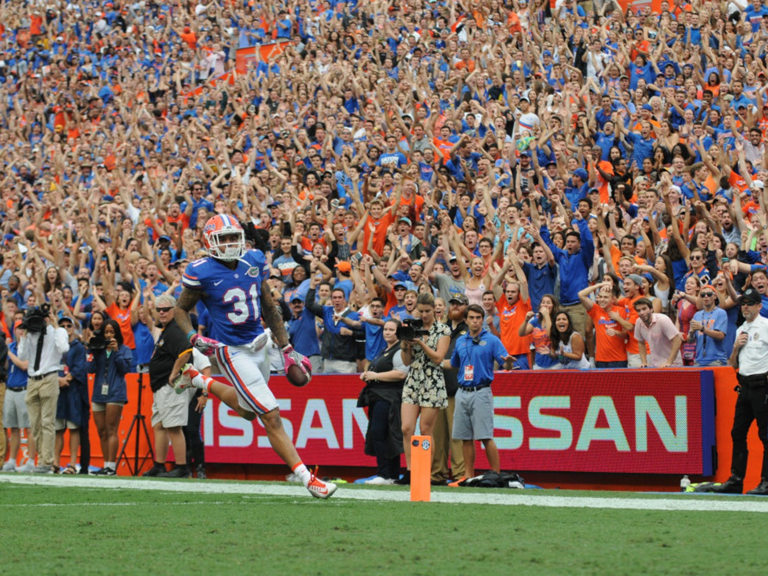 Jalen Tabor returns an interception for a touchdown during Florida's 40-14 win over Missouri on Oct. 15, 2016, at Ben Hill Griffin Stadium.