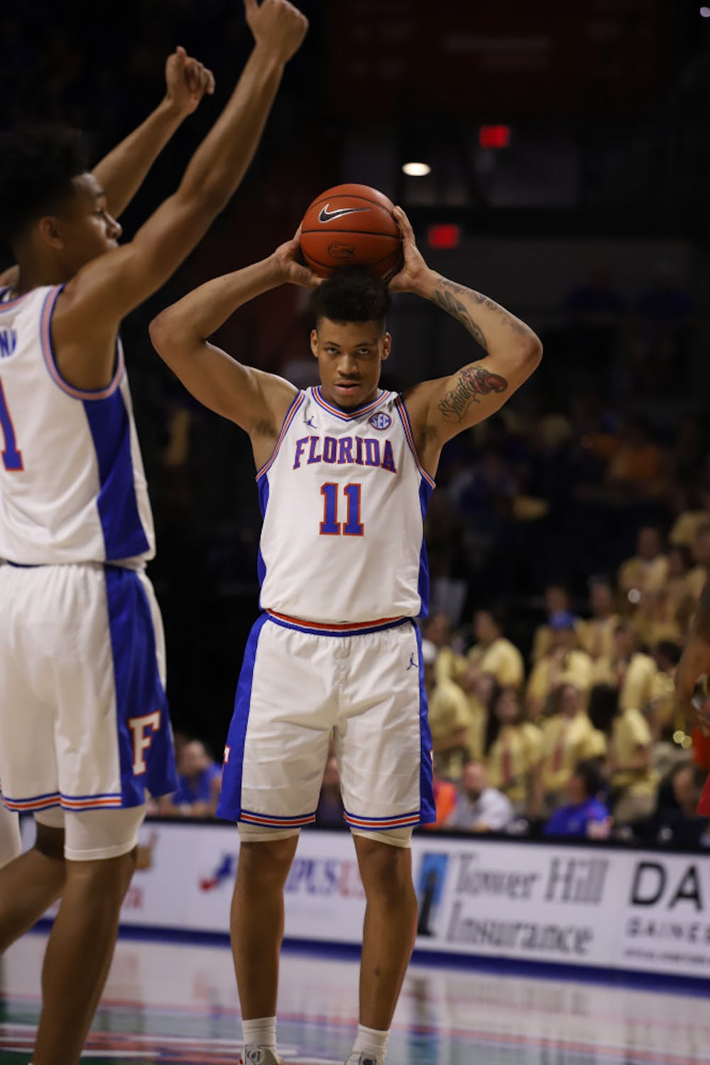 <p>Junior Keyontae Johnson at the Gators' home game against Arkansas last season. Florida will allow up to 2,200 fans into the O'Connell Center for basketball games this season.</p>