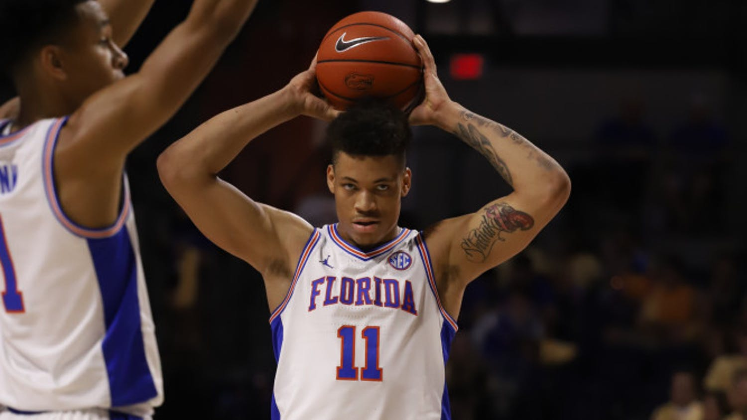 Junior Keyontae Johnson at the Gators' home game against Arkansas last season. Florida will allow up to 2,200 fans into the O'Connell Center for basketball games this season.
