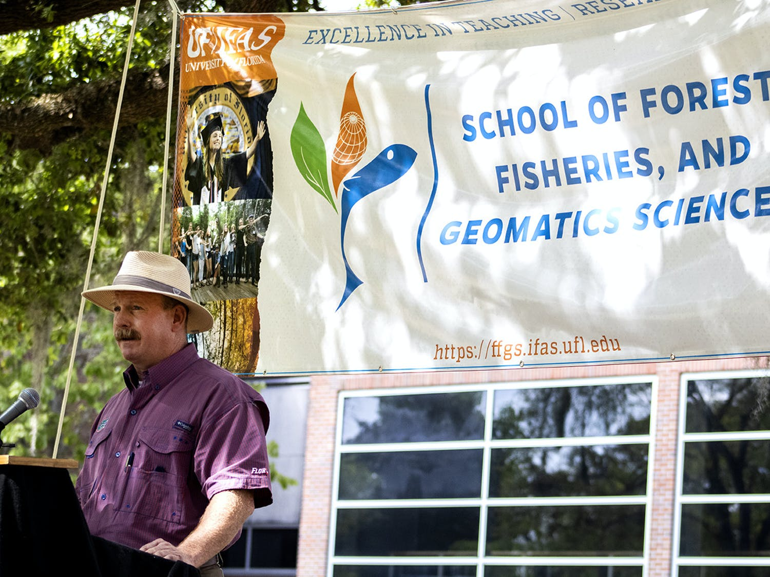 "Terrell ""Red"" Baker speaks during a ceremony that announced the renaming of the UF School of Forest, Fisheries, and Geomatics Sciences on Monday, March 15, 2021. It was formerly called the School of Forest Resources and Conservation. Baker, the school director, said the change will make it easier for people to contact individuals within the program."