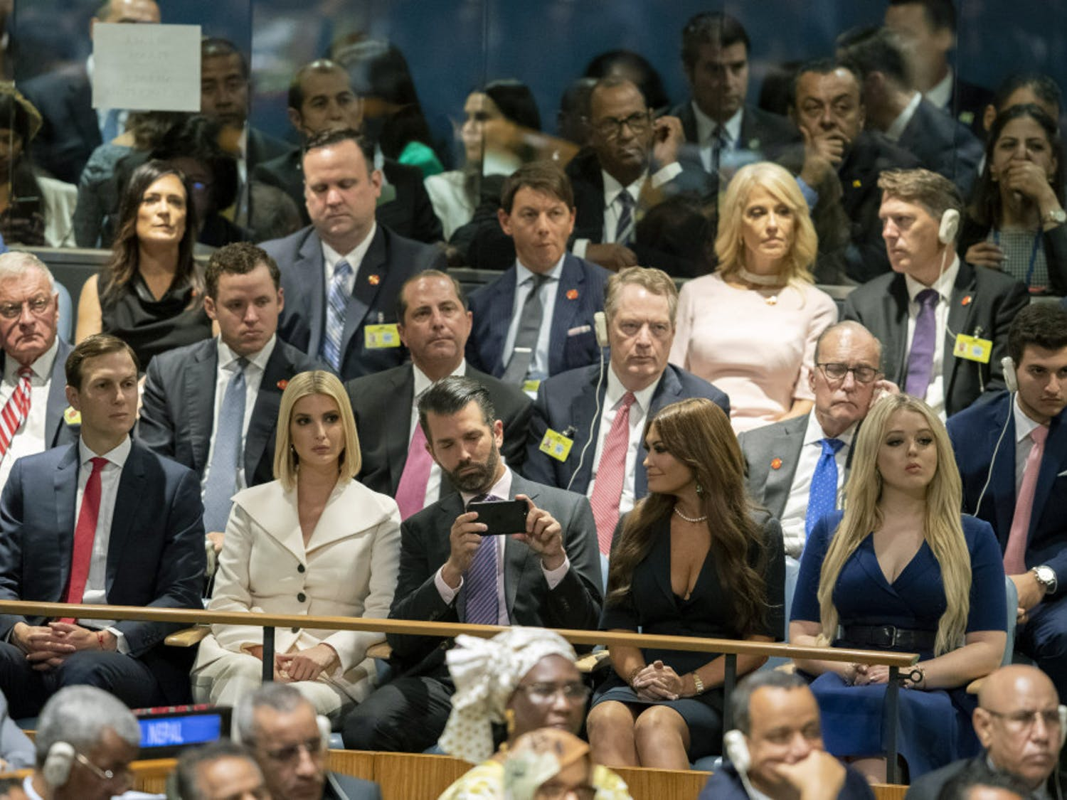The Trump family, front row, and his staff listen as U.S. President Donald Trump addresses the 74th session of the United Nations General Assembly at U.N. headquarters Tuesday, Sept. 24, 2019. From right to left, Tiffany Trump, Kimberly Guilfoyle, Donald Trump Jr., Ivanka Trump, and Jared Kushner. (AP Photo/Mary Altaffer)