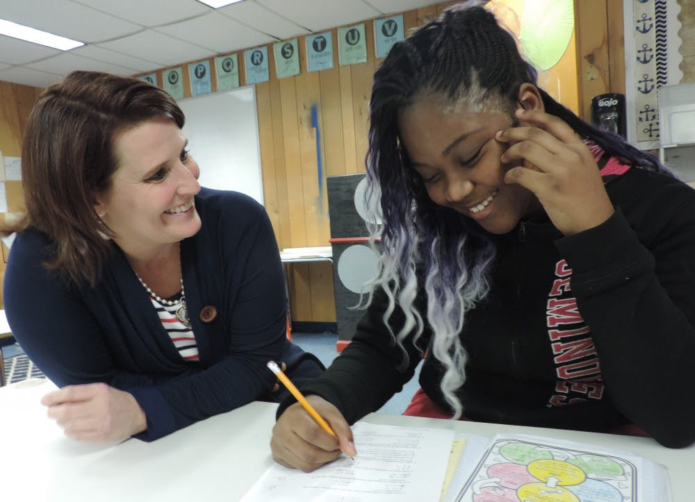 <p>Laura Wykoff, 44, was named Alachua County Teacher of the Year. She teaches math to students at Fort Clarke Middle School in Gainesville.</p>