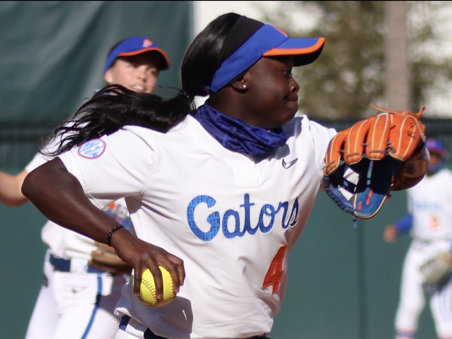 Third baseman Charla Echols prepares to fire the ball towards first Mar. 3 against Florida State.