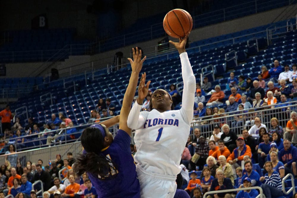 <p>UF forward Ronni Williams goes for a layup during Florida's 53-45 win against LSU on Jan. 17, 2016, in the O'Connell Center.</p>