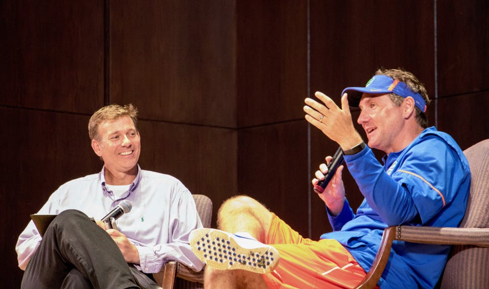 """<p dir=""""ltr""""><span>UF football head coach Dan Mullen answers questions and talks about his coaching career, the football program, and more with moderator Ted Spiker at the Accent Speakers Bureau event Tuesday night. About 200 people attended the free event at the University Auditorium.</span></p><p><span></span></p>"""