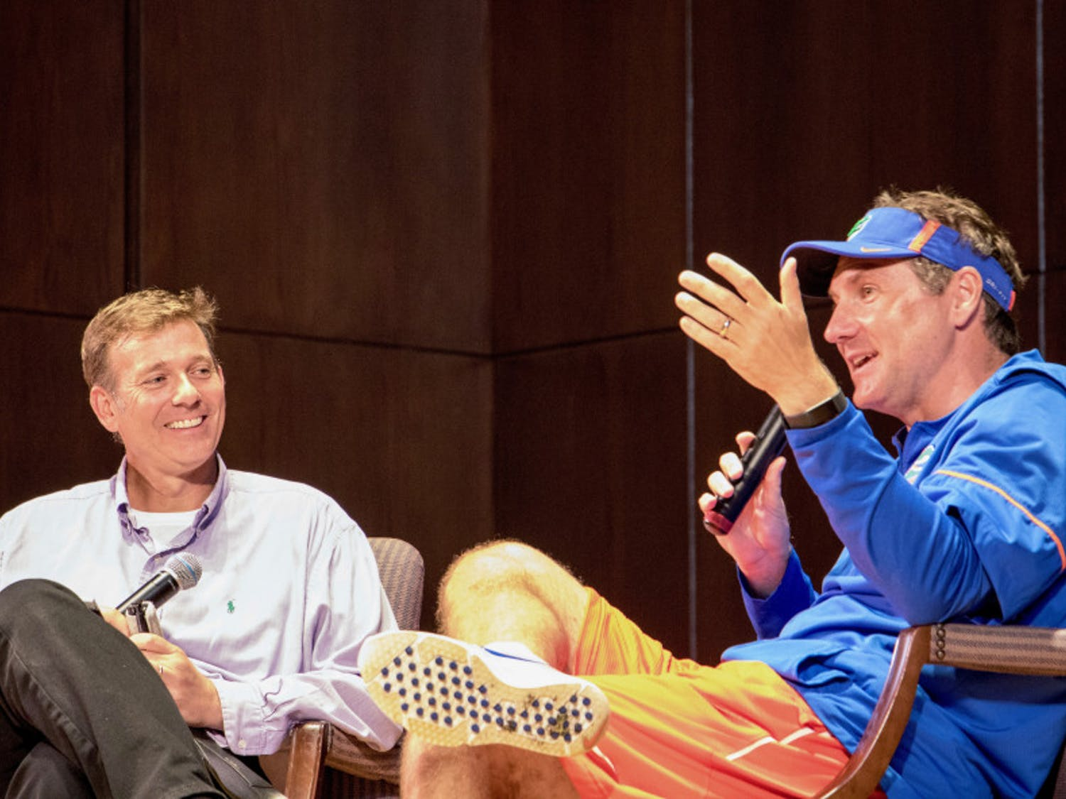 UF football head coach Dan Mullen answers questions and talks about his coaching career, the football program, and more with moderator Ted Spiker at the Accent Speakers Bureau event Tuesday night. About 200 people attended the free event at the University Auditorium.