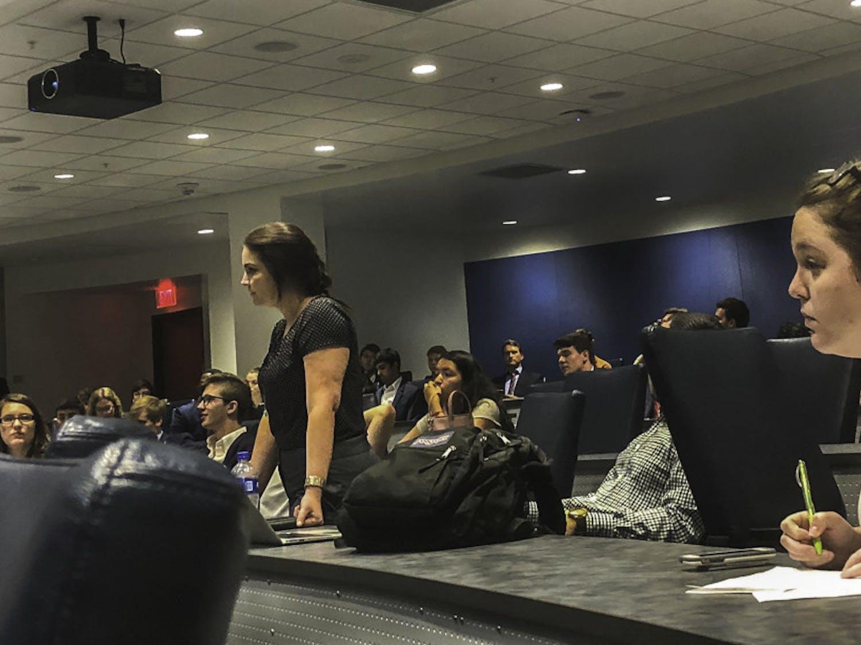 Ashley Grabowski (left) at a May 25 Student Senate meeting.