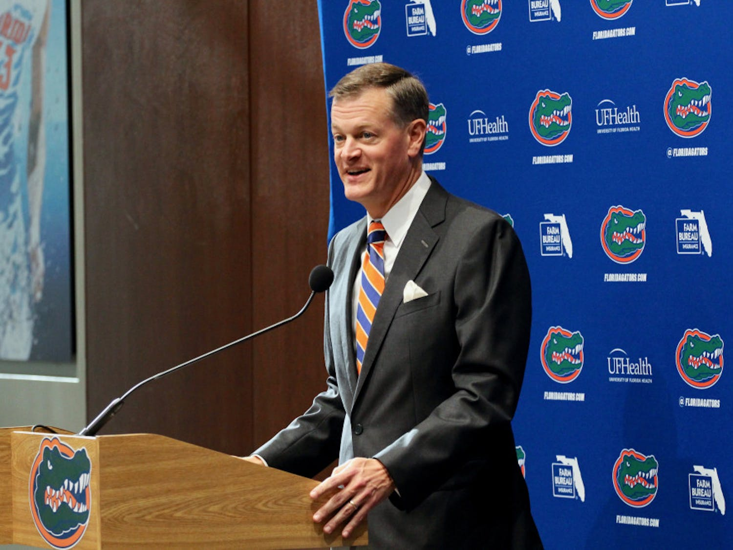 UF athletic director Scott Striklin speaks at a press conference announcing former Mississippi State coach Dan Mullen as Florida's next head coach.