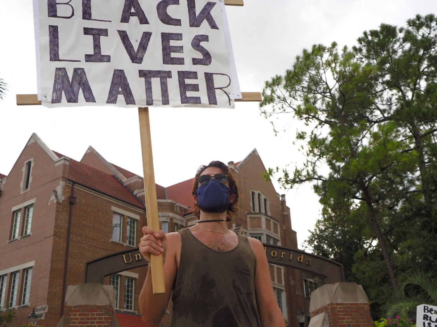 More than 200 masked people gathered Friday evening at the intersection of University Avenue and 13th Street and marched downtown to Bo Diddley Community Plaza to protest the shooting of 29-year-old Jacob Blake, a Black man shot by police while entering his car after he was tased. Follow the tweets posted by The Alligator's staff live from the protest.