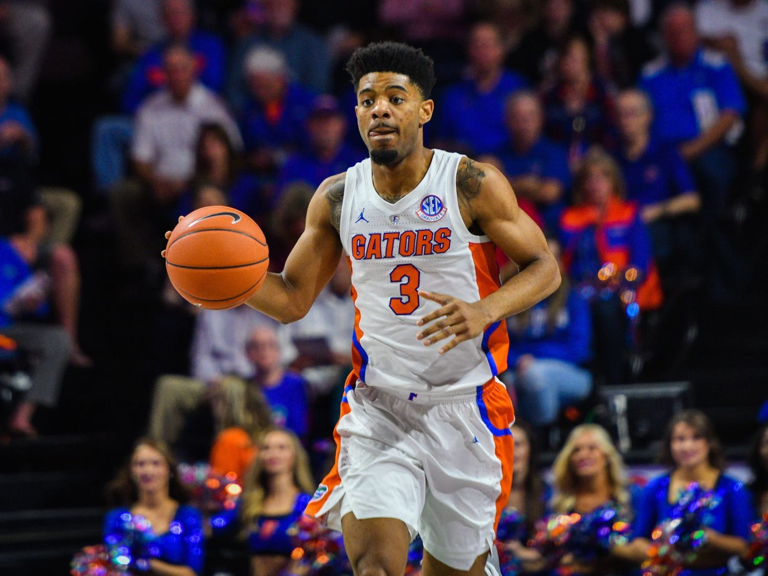 Senior guard Jalen Hudson scored 16 points in the Gators' 65-62 loss to Auburn in the SEC Tournament semifinals.