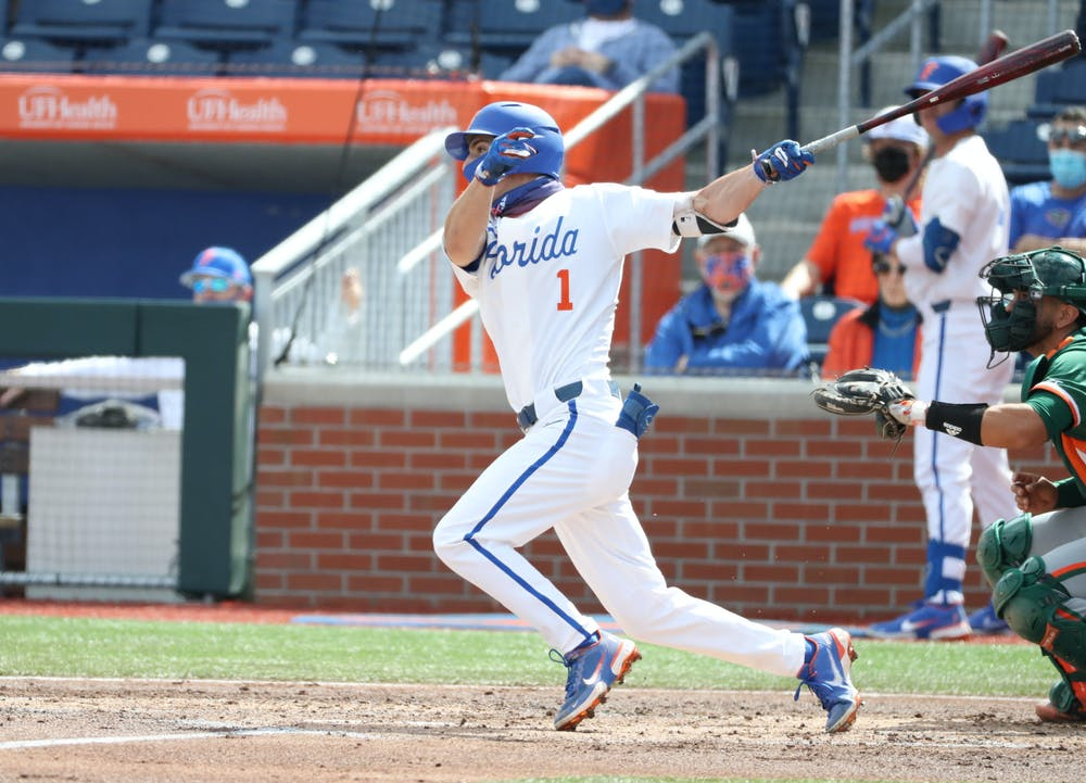 Jacob Young brought in his first RBI with a 2nd-inning double to bring the Gators a lead in the third game against Samford. Photo from UF-Miami game Feb. 21. Courtesy of the SEC Media Portal.
