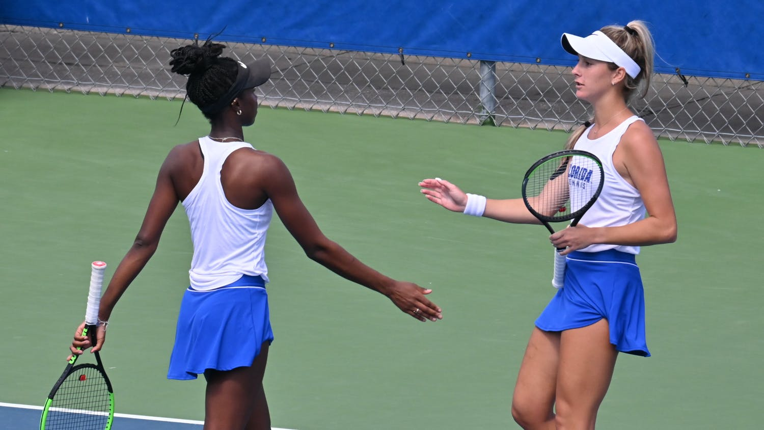 McCartney Kessler and Marlee Zein look to increase their doubles streak to six Friday. The men's and women's squads prepare to take on the Georgia Bulldogs, whose teams hold a 13-3 combined record. Photo from UF-Texas A&M game Feb. 28.