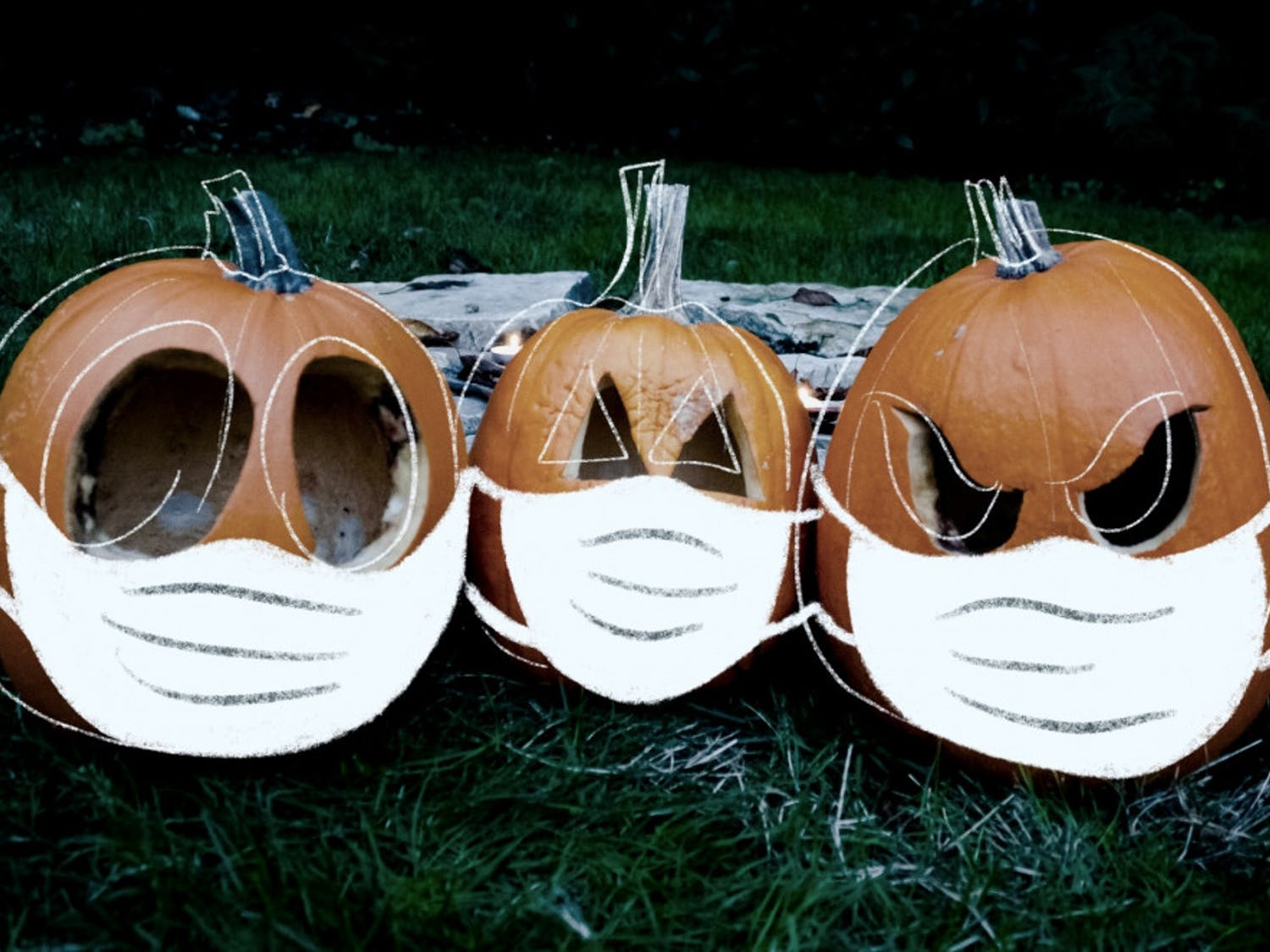 pumpkins with masks