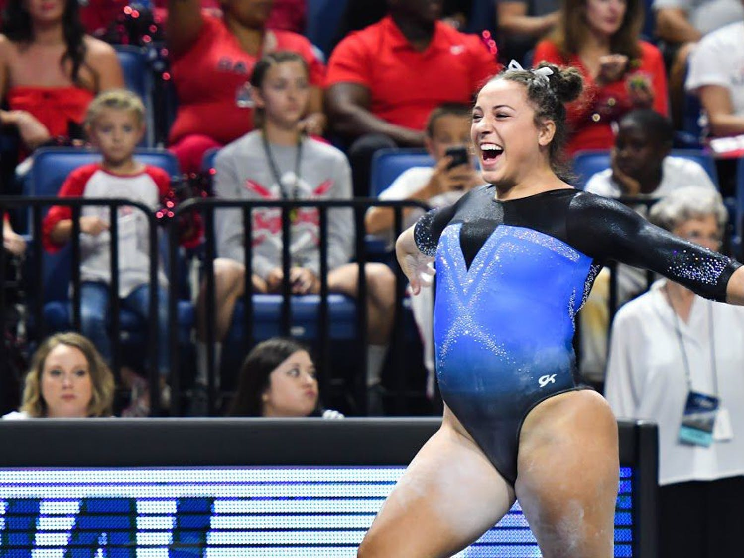 UF gymnast Amelia Hundley performs a routine during the NCAA Gainesville Regional on April 1, 2017, in the O'Connell Center.
