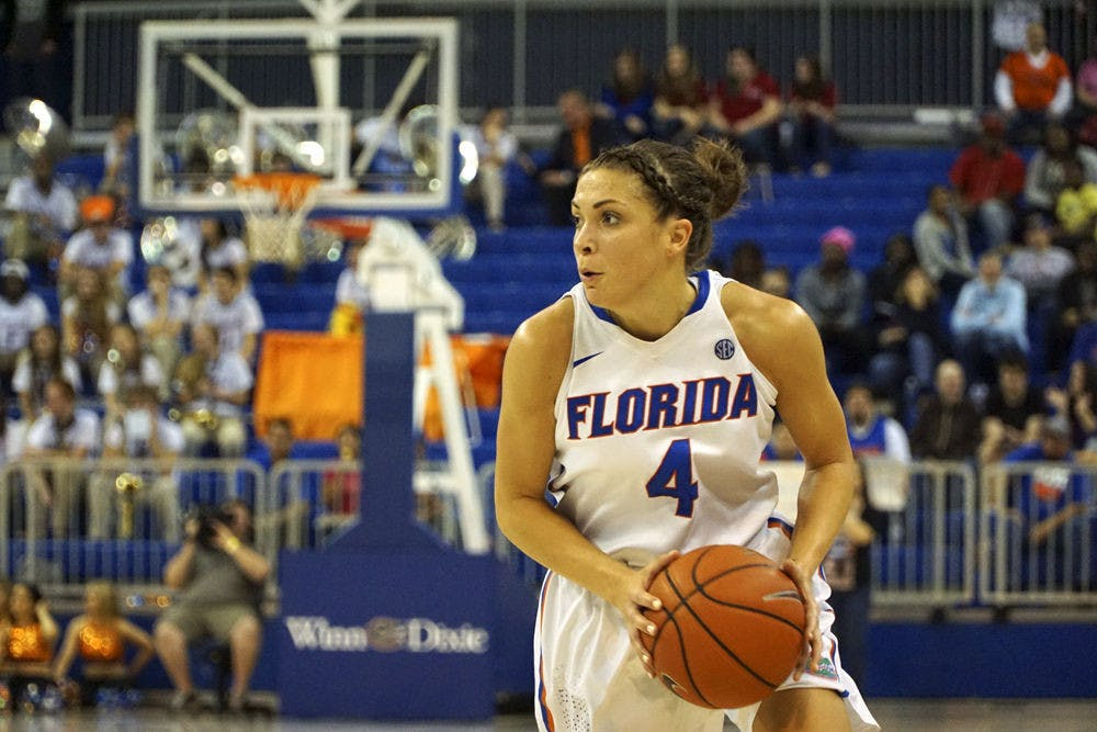 <p>UF's Carlie Needles looks to pass the ball during Florida's 85-79 win over Kentucky on Jan. 31, 2016, in the O'Connell Center.</p>