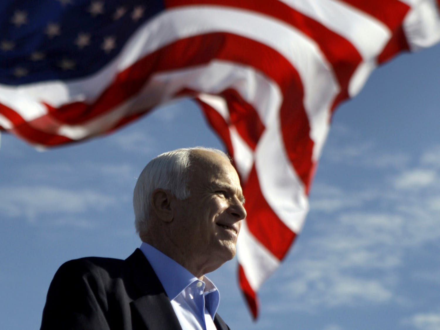 Republican presidential candidate Sen. John McCain, R-Ariz., speaks at a 2008 rally in Tampa, Fla. Aide says senator, war hero and GOP presidential candidate McCain died Saturday, Aug. 25, 2018. He was 81.