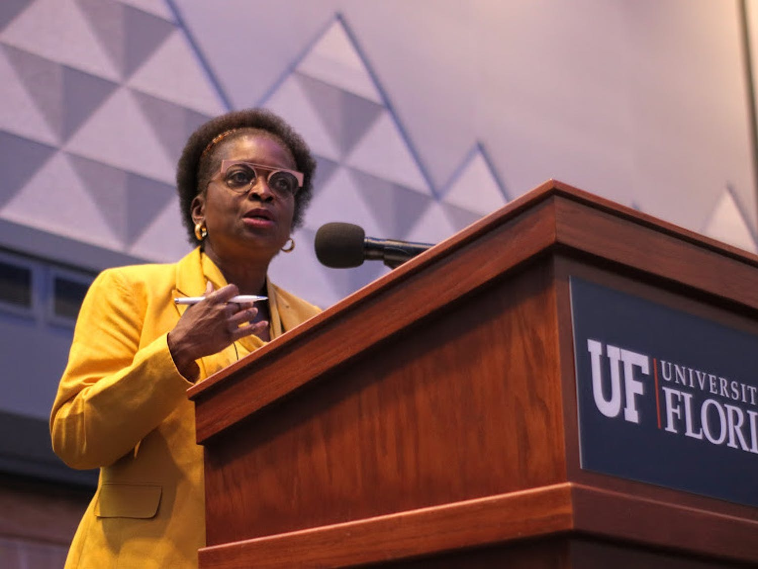 Former Federal Communications Commission Commissioner Mignon Clyburn gives a prepared speech at the event at the Reitz Union on Thursday, Sept. 9, 2021. She was introduced by Mark Jamison, the Public Utility Research Center director and Gerald Gunter professor, as well as David Reed, the Strategic Initiatives associate provost.