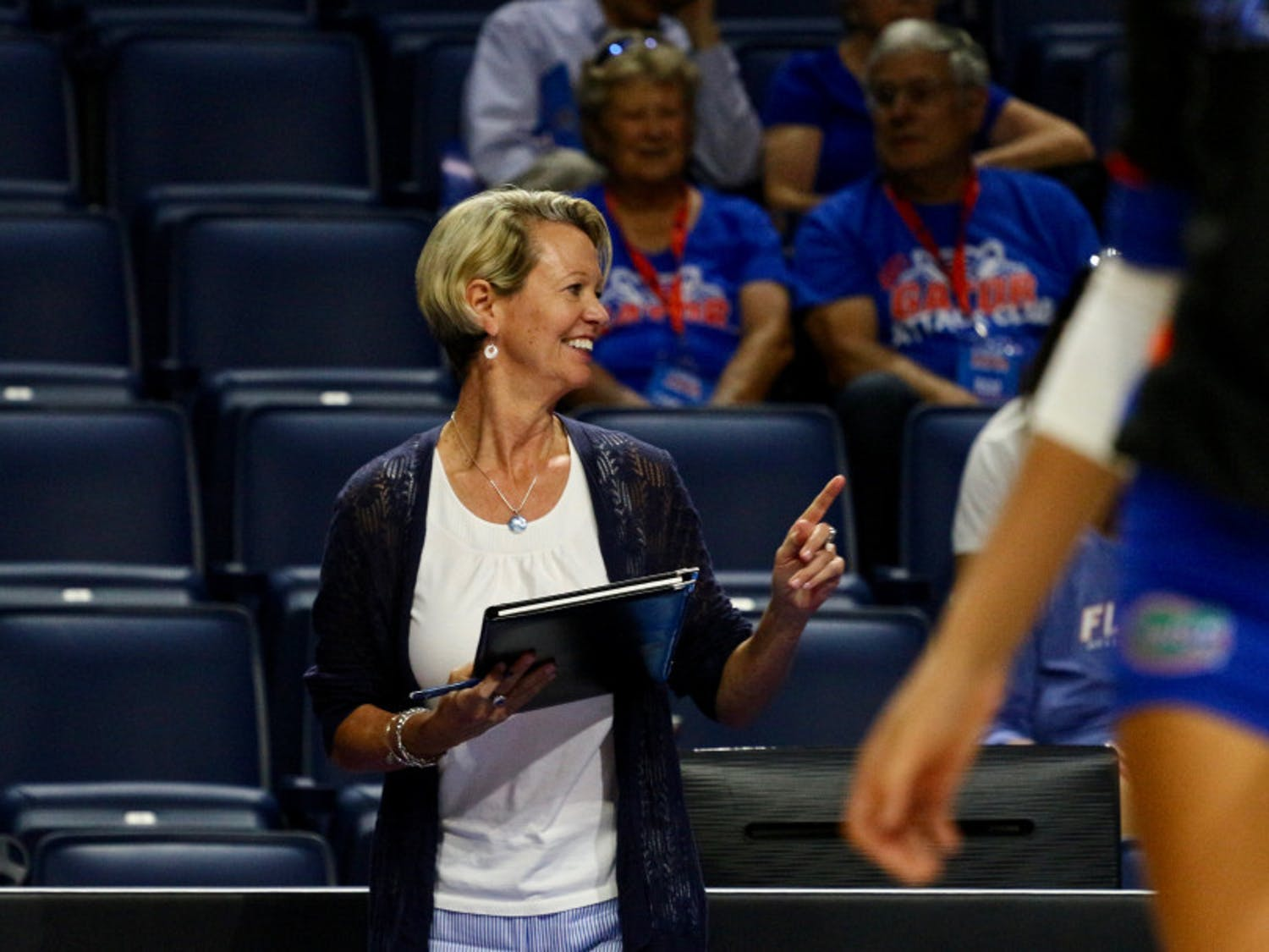 UF coach Mary Wise smiles during Florida's 3-0 win against Florida A&M on Sept. 15, 2017, in the O'Connell Center.