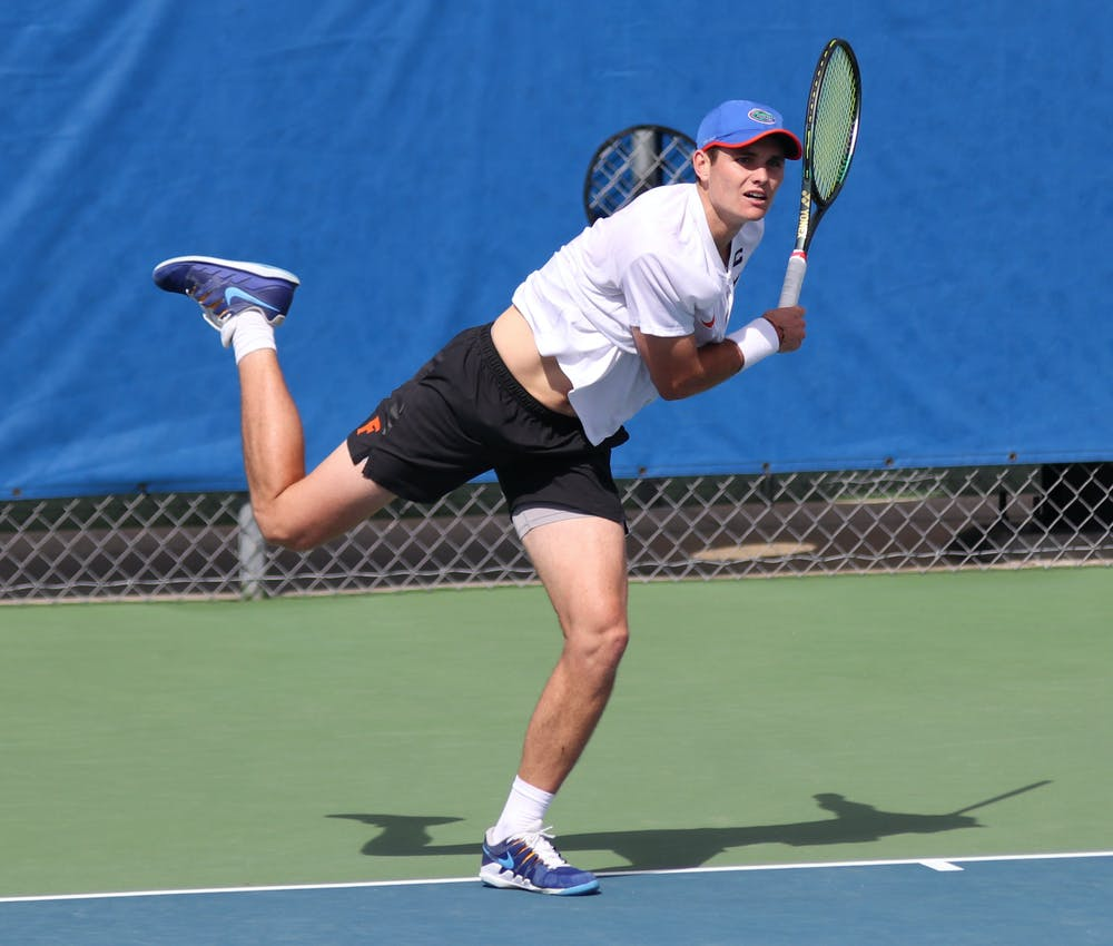Junior Sam Riffice won his singles match against Auburn 6-2, 5-7, 6-4 Sunday.