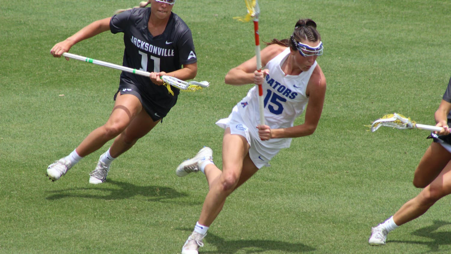Attacker Grace Haus races down the field in Florida's 17-3 win over Jacksonville University.