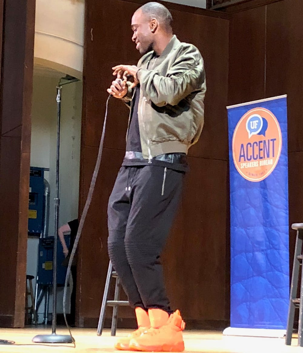 <p>Jay Pharoah performed an hour-long comedy act for 850 attendees at University Auditorium on Tuesday.</p>