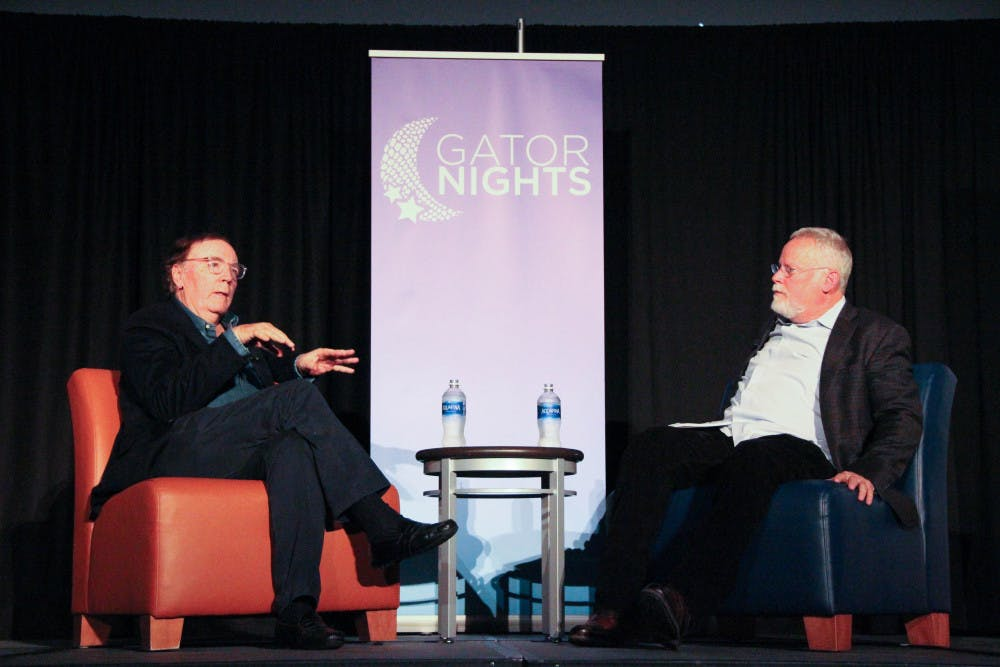 <p><span>Best-selling author James Patterson being interviewed by best-selling author and UF alumnus Michael Connelly during GatorNights in the Reitz Union on Friday.</span></p><div><span></span></div><div></div>