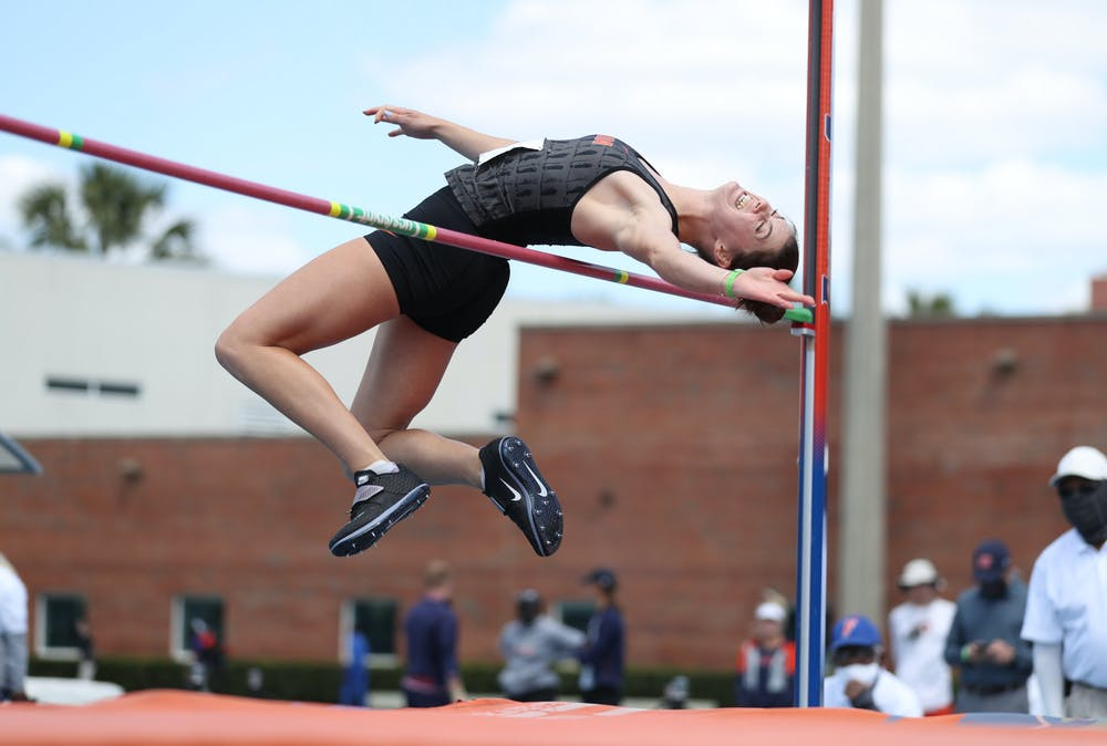 Florida's Claire Bryant competes in the high jump during the Pepsi Florida Relays on Saturday, April 3, 2021 at Percy Beard Track at James G. Pressly Stadium in Gainesville, Fla. / UAA Communications photo by Tiffany Franco