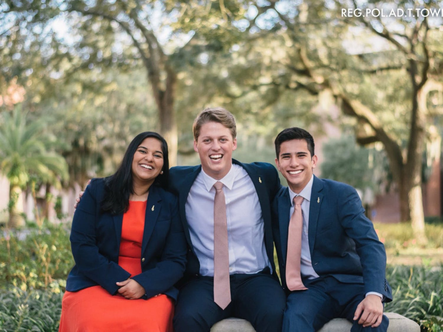 Impact Party's executive ticket consists of Michael Murphy, 21, for Student Body president (center); Sarah Abraham, 20, for Student Body vice president (left); and Santiago Gutierrez, 20, for Student Body treasurer (right).