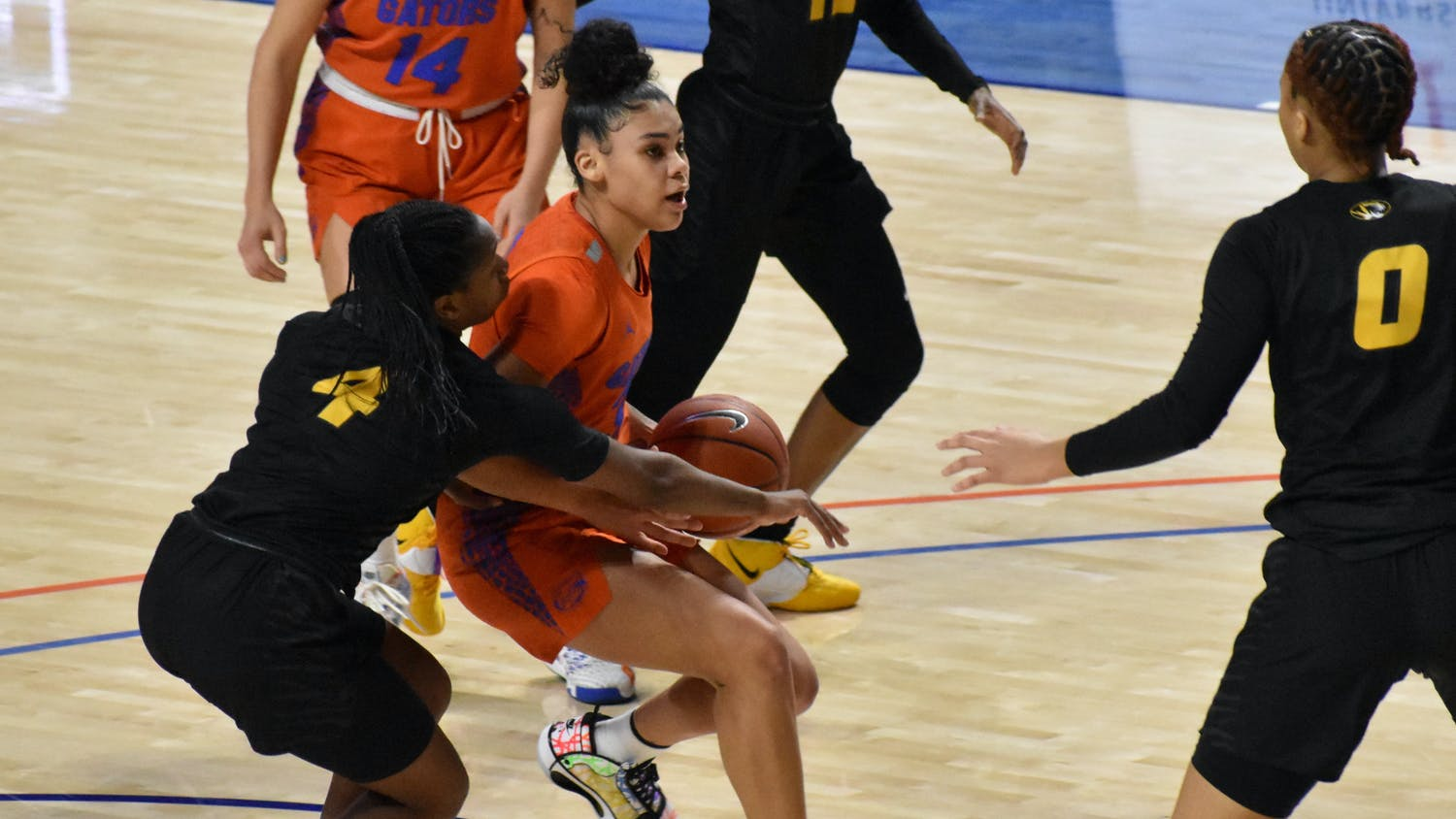 Relying on two stars guards (Lavender Briggs and Kiara Smith) to shoot more than 70% of Florida's points, like during the Arkansas game, isn't sustainable. Photo from UF-Mizzou game January 2021.