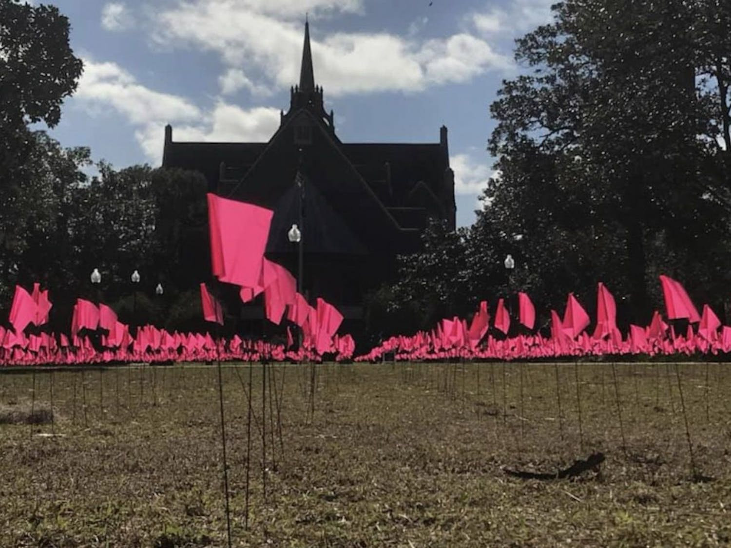 Exactly 2,537 flags were placed in Plaza of the Americas by UF Young Americans for Freedom chapter to represent the average number of abortions performed in the United States each day.