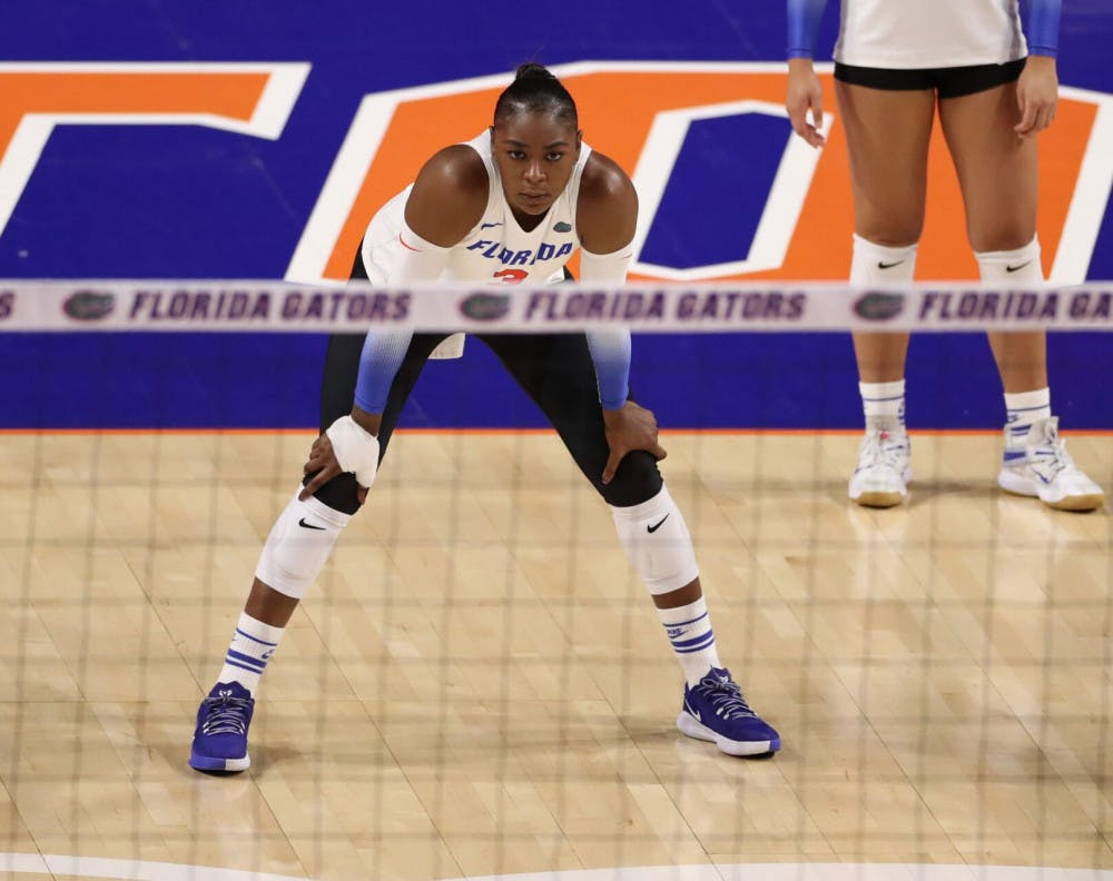 <p>Outside hitter T'ara Ceasar during the Gators' match against the Georgia Bulldogs on Friday, November 20, 2020 at Exactech Arena at the Stephen C. O'Connell Center in Gainesville, Florida.</p>